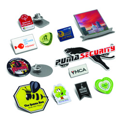 Promo Badges with Logos |  Pins or Clips | On-line Prices